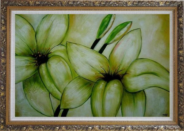 Framed Blooming Yellow Lily in Springtime Oil Painting Flower Decorative Ornate Antique Dark Gold Wood Frame 30 x 42 Inches