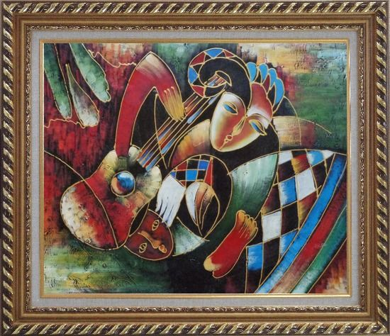 Framed Two Musicians, Picasso Reproduction Oil Painting Portraits Modern Cubism Exquisite Gold Wood Frame 26 x 30 Inches