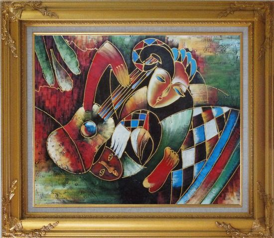 Framed two musicians picasso reproduction oil painting for Framed reproduction oil paintings