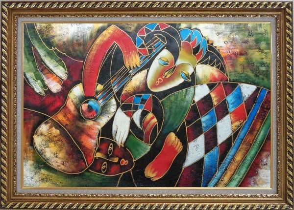 Framed Two Musicians, Picasso Reproduction Oil Painting Portraits Modern Cubism Exquisite Gold Wood Frame 30 x 42 Inches