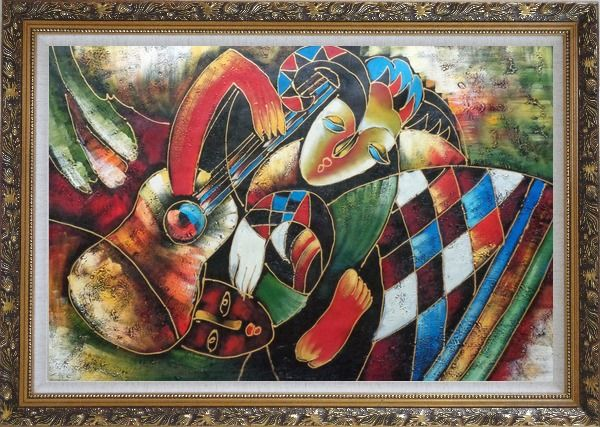 Framed Two Musicians, Picasso Reproduction Oil Painting Portraits Modern Cubism Ornate Antique Dark Gold Wood Frame 30 x 42 Inches