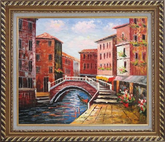 Framed Venice Canal Bridge With Pretty Flowers Oil Painting Italy Naturalism Exquisite Gold Wood Frame 26 x 30 Inches