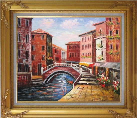 Framed Venice Canal Bridge With Pretty Flowers Oil Painting Italy Naturalism Gold Wood Frame with Deco Corners 27 x 31 Inches