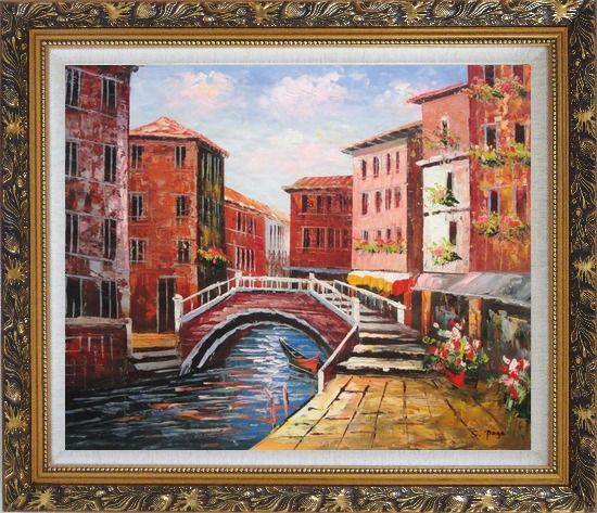 Framed Venice Canal Bridge With Pretty Flowers Oil Painting Italy Naturalism Ornate Antique Dark Gold Wood Frame 26 x 30 Inches