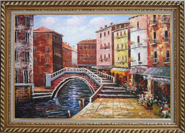 Framed Venice Canal Bridge With Pretty Flowers Oil Painting Italy Naturalism Exquisite Gold Wood Frame 30 x 42 Inches