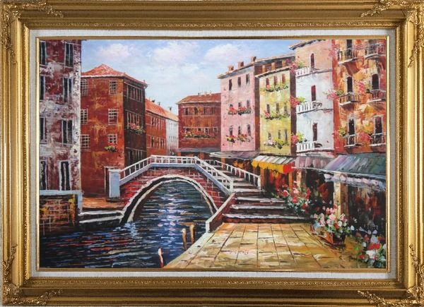 Framed Venice Canal Bridge With Pretty Flowers Oil Painting Italy Naturalism Gold Wood Frame with Deco Corners 31 x 43 Inches