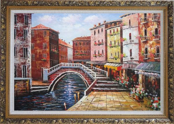 Framed Venice Canal Bridge With Pretty Flowers Oil Painting Italy Naturalism Ornate Antique Dark Gold Wood Frame 30 x 42 Inches