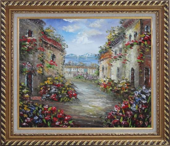 Framed Mediterranean Village Street with Colorful Flowers Oil Painting Impressionism Exquisite Gold Wood Frame 26 x 30 Inches