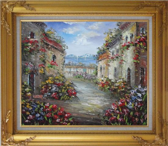 Framed Mediterranean Village Street with Colorful Flowers Oil Painting Impressionism Gold Wood Frame with Deco Corners 27 x 31 Inches