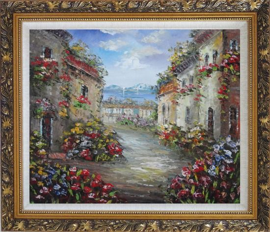 Framed Mediterranean Village Street with Colorful Flowers Oil Painting Impressionism Ornate Antique Dark Gold Wood Frame 26 x 30 Inches