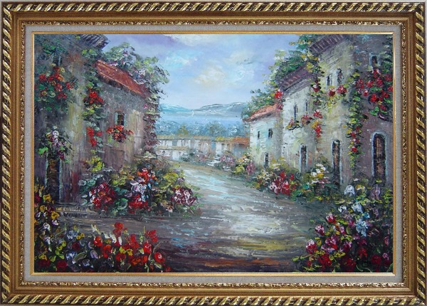 Framed Mediterranean Village Street with Colorful Flowers Oil Painting Impressionism Exquisite Gold Wood Frame 30 x 42 Inches