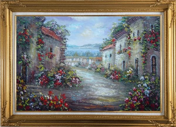 Framed Mediterranean Village Street with Colorful Flowers Oil Painting Impressionism Gold Wood Frame with Deco Corners 31 x 43 Inches