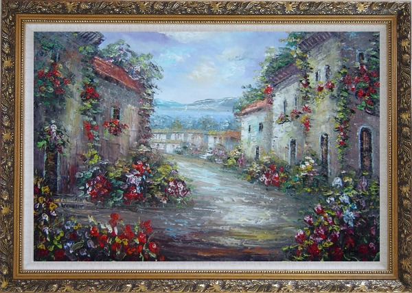 Framed Mediterranean Village Street with Colorful Flowers Oil Painting Impressionism Ornate Antique Dark Gold Wood Frame 30 x 42 Inches