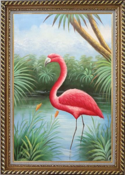 Framed Red Flamingo On Pond Oil Painting Animal Bird Naturalism Exquisite Gold Wood Frame 42 x 30 Inches