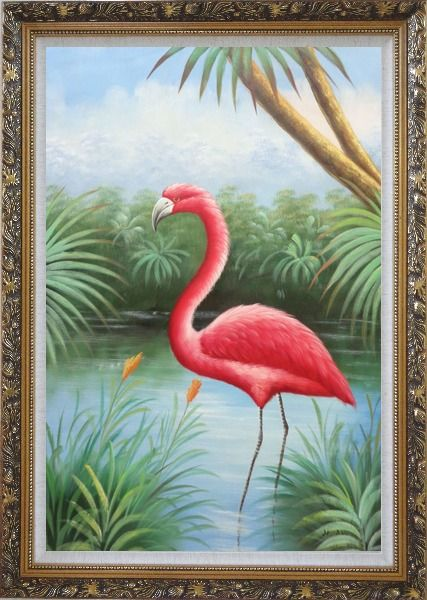 Framed Red Flamingo On Pond Oil Painting Animal Bird Naturalism Ornate Antique Dark Gold Wood Frame 42 x 30 Inches