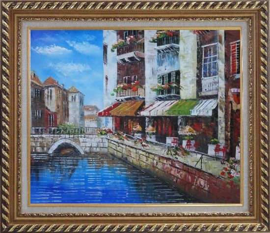 Framed Venice Cafe Along Water Street Oil Painting Italy Naturalism Exquisite Gold Wood Frame 26 x 30 Inches