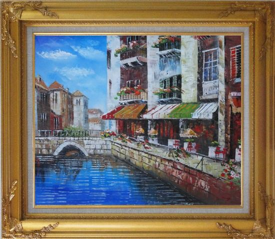Framed Venice Cafe Along Water Street Oil Painting Italy Naturalism Gold Wood Frame with Deco Corners 27 x 31 Inches