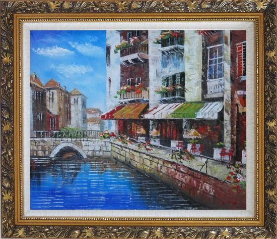 Framed Venice Cafe Along Water Street Oil Painting Italy Naturalism Ornate Antique Dark Gold Wood Frame 26 x 30 Inches