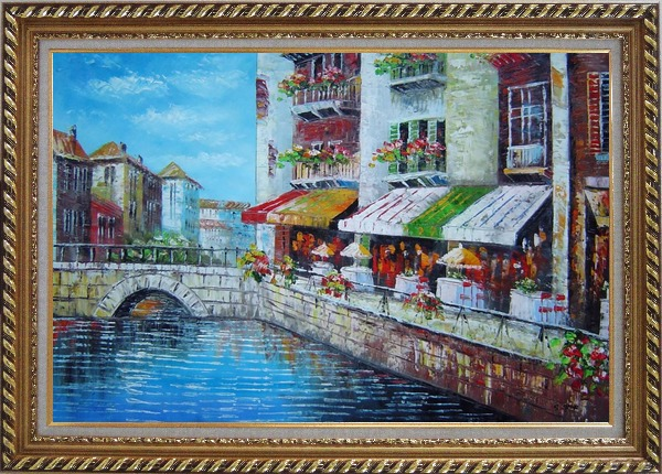 Framed Venice Cafe Along Water Street Oil Painting Italy Naturalism Exquisite Gold Wood Frame 30 x 42 Inches