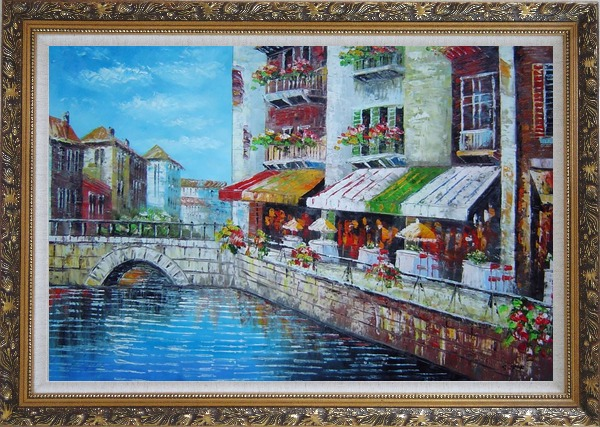 Framed Venice Cafe Along Water Street Oil Painting Italy Naturalism Ornate Antique Dark Gold Wood Frame 30 x 42 Inches
