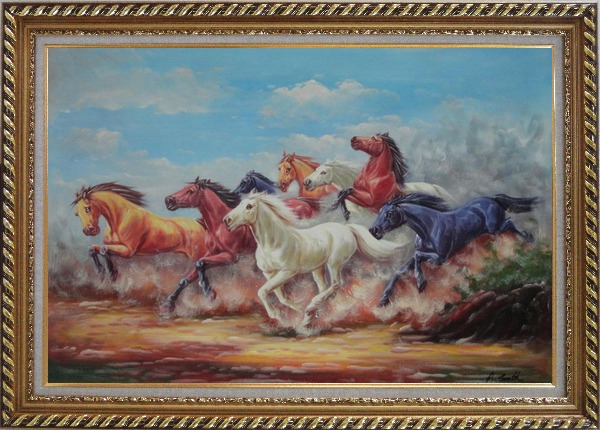 Framed Eight Joyful Wild Horses Running Oil Painting Animal Naturalism Exquisite Gold Wood Frame 30 x 42 Inches