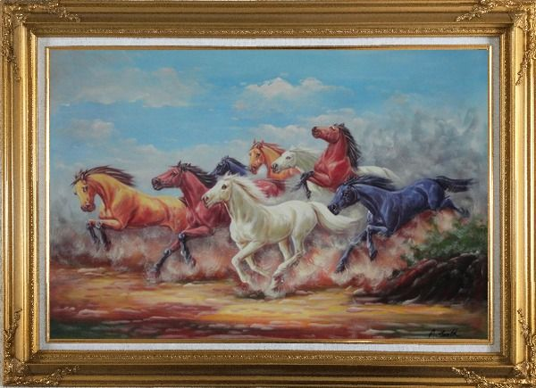 Framed Eight Joyful Wild Horses Running Oil Painting Animal Naturalism Gold Wood Frame with Deco Corners 31 x 43 Inches