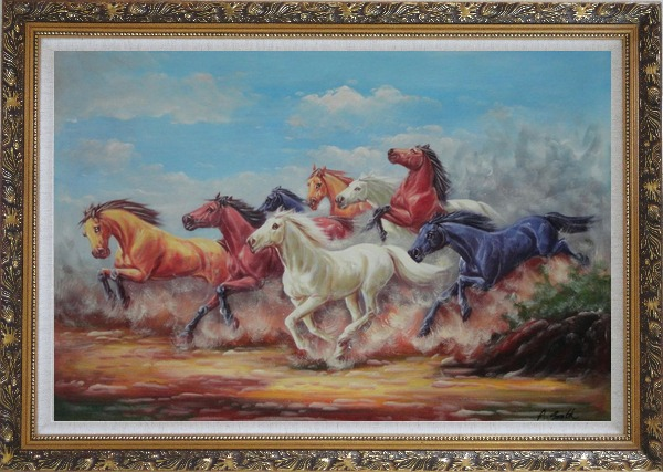 Framed Eight Joyful Wild Horses Running Oil Painting Animal Naturalism Ornate Antique Dark Gold Wood Frame 30 x 42 Inches