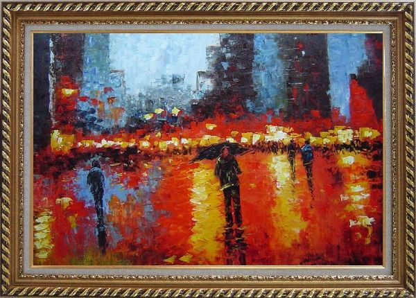 Framed Rainy Night with Tourists in Urban City Square Oil Painting Cityscape Impressionism Exquisite Gold Wood Frame 30 x 42 Inches