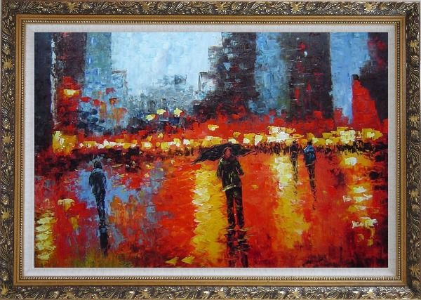 Framed Rainy Night with Tourists in Urban City Square Oil Painting Cityscape Impressionism Ornate Antique Dark Gold Wood Frame 30 x 42 Inches