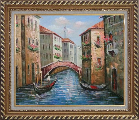 Framed Gondolas in Street of Venice, Italy Oil Painting Naturalism Exquisite Gold Wood Frame 26 x 30 Inches