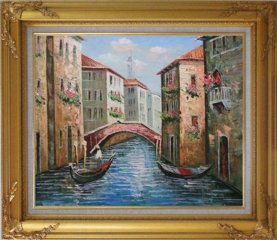 Framed Gondolas in Street of Venice, Italy Oil Painting Naturalism Gold Wood Frame with Deco Corners 27 x 31 Inches