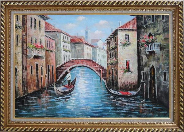 Framed Gondolas in Street of Venice, Italy Oil Painting Naturalism Exquisite Gold Wood Frame 30 x 42 Inches
