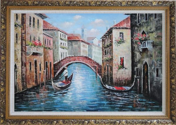 Framed Gondolas in Street of Venice, Italy Oil Painting Naturalism Ornate Antique Dark Gold Wood Frame 30 x 42 Inches