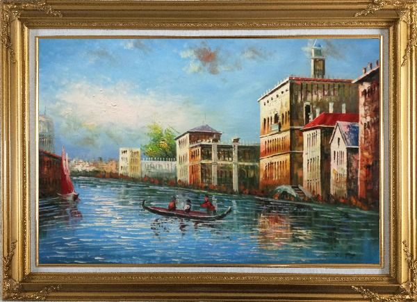 Framed Love Story of Venice Oil Painting Italy Naturalism Gold Wood Frame with Deco Corners 31 x 43 Inches