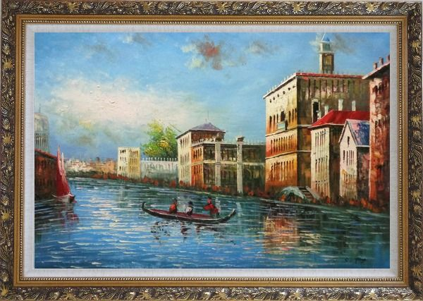 Framed Love Story of Venice Oil Painting Italy Naturalism Ornate Antique Dark Gold Wood Frame 30 x 42 Inches