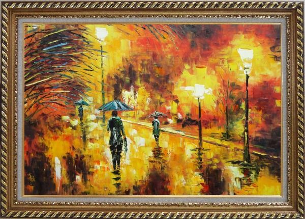 Framed Walking On Rainy Day Street at Night Oil Painting Cityscape Modern Exquisite Gold Wood Frame 30 x 42 Inches