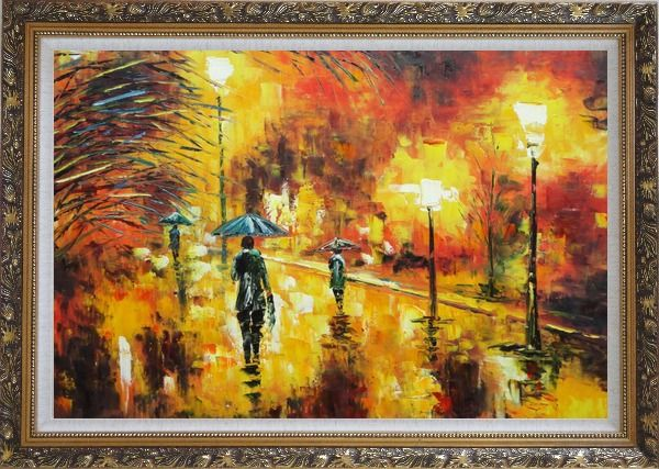 Framed Walking On Rainy Day Street at Night Oil Painting Cityscape Modern Ornate Antique Dark Gold Wood Frame 30 x 42 Inches