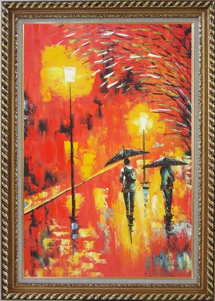 Framed People in Street On Rainy Night with Bright Red Light Oil Painting Cityscape Modern Exquisite Gold Wood Frame 42 x 30 Inches