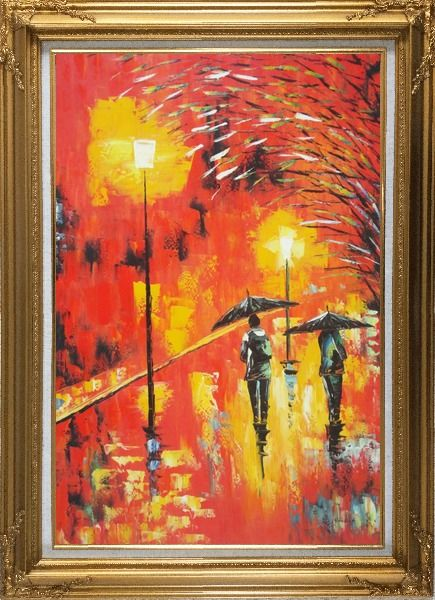 Framed People in Street On Rainy Night with Bright Red Light Oil Painting Cityscape Modern Gold Wood Frame with Deco Corners 43 x 31 Inches