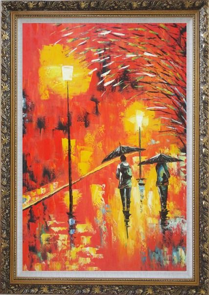 Framed People in Street On Rainy Night with Bright Red Light Oil Painting Cityscape Modern Ornate Antique Dark Gold Wood Frame 42 x 30 Inches