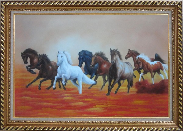 Framed Eight Running Horses on Golden Sunset Oil Painting Animal Naturalism Exquisite Gold Wood Frame 30 x 42 Inches