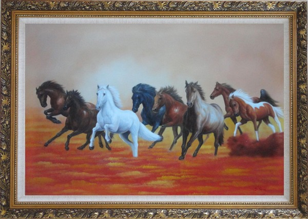 Framed Eight Running Horses on Golden Sunset Oil Painting Animal Naturalism Ornate Antique Dark Gold Wood Frame 30 x 42 Inches
