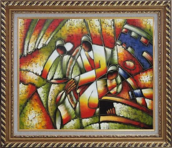 Framed Two Saxophone Player, Picasso Oil Painting Portraits Modern Cubism Exquisite Gold Wood Frame 26 x 30 Inches