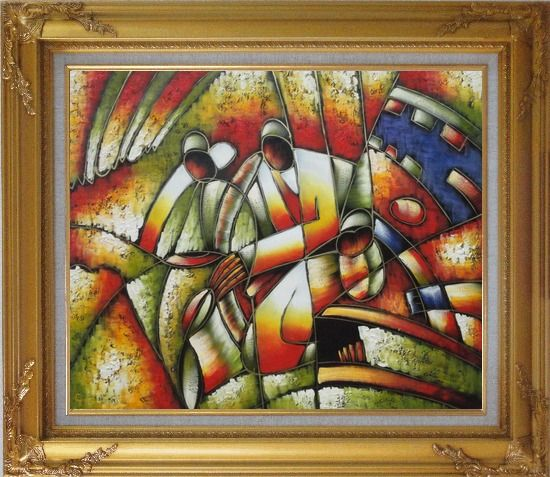 Framed Two Saxophone Player, Picasso Oil Painting Portraits Modern Cubism Gold Wood Frame with Deco Corners 27 x 31 Inches