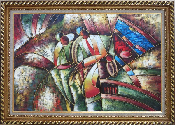 Framed Two Saxophone Player, Picasso Oil Painting Portraits Modern Cubism Exquisite Gold Wood Frame 30 x 42 Inches