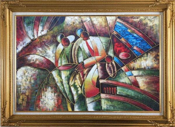 Framed Two Saxophone Player, Picasso Oil Painting Portraits Modern Cubism Gold Wood Frame with Deco Corners 31 x 43 Inches