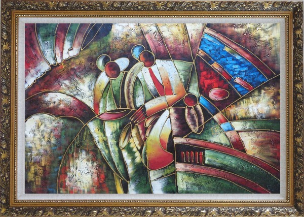 Framed Two Saxophone Player, Picasso Oil Painting Portraits Modern Cubism Ornate Antique Dark Gold Wood Frame 30 x 42 Inches