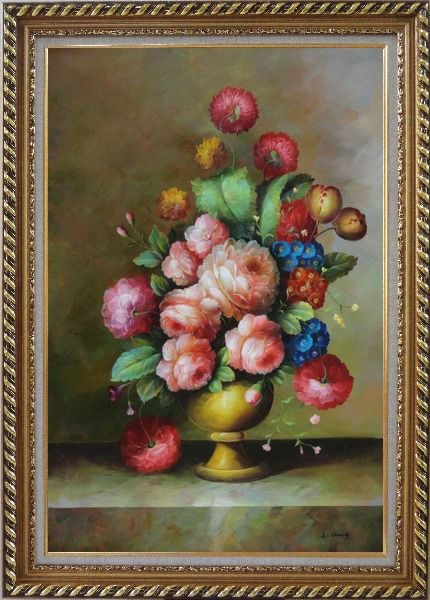 Framed Still Life: Blooming Colorful Flowers in a Vase Oil Painting Bouquet Classic Exquisite Gold Wood Frame 42 x 30 Inches