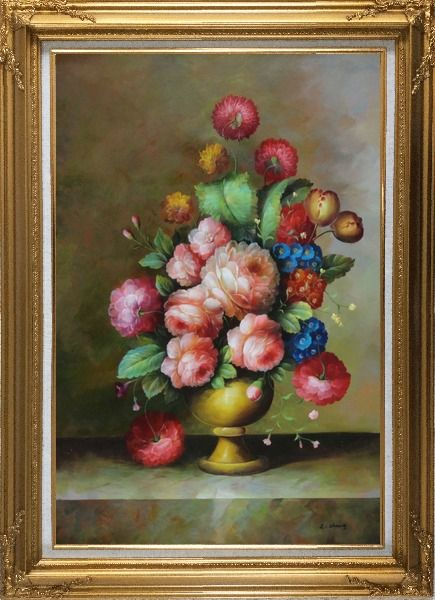 Framed Still Life: Blooming Colorful Flowers in a Vase Oil Painting Bouquet Classic Gold Wood Frame with Deco Corners 43 x 31 Inches
