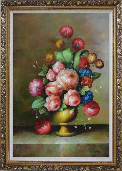 Framed Still Life: Blooming Colorful Flowers in a Vase Oil Painting Bouquet Classic Ornate Antique Dark Gold Wood Frame 42 x 30 Inches